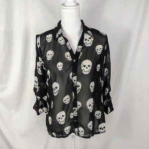 Zenana Styles Blouse Medium Black White Skulls